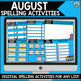 August Digital Spelling Activities for Word Work