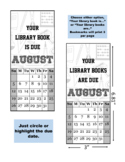 August Due Date Bookmarks