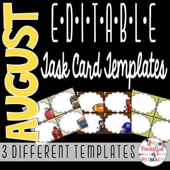 August EDITABLE Task Card TEMPLATES