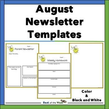 August Editable Newsletter Freebie