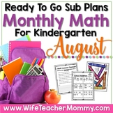 August Emergency Sub Plans Math for Kindergarten. Back to School