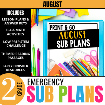August Emergency Sub Plans for 2nd Grade: Activities & Ready-to-go Lessons