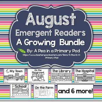 August Emergent Readers and Response Activities Growing Bundle
