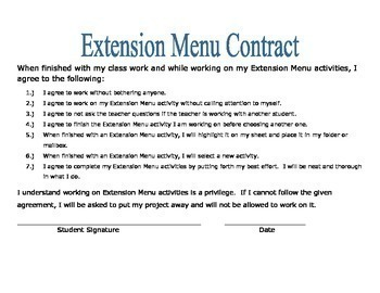 August/September  Extension Choice Menu and Contract
