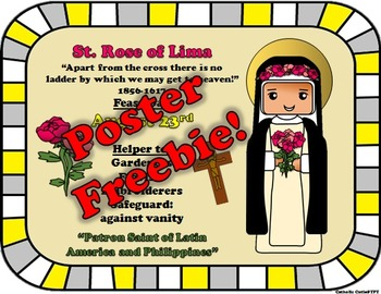 August Feast Day Catholic Saint Poster - Saint Rose of Lima