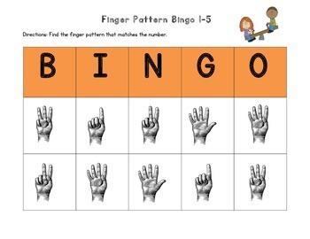 August Finger Pattern Bingo (Differentiated 1-5, 6-10, & 1-10)