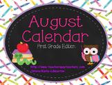 August 2017 First Grade ActivInspire Calendar & More