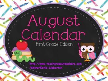 August 2016 First Grade ActivInspire Calendar & More