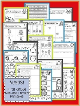 August First Grade Math and Literacy Packet NO PREP Common Core Aligned