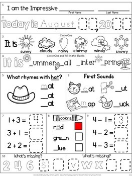 Morning Work Freebie: First Grade August Packet (Back to School, Beginning Year)