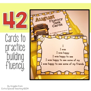 August Fluency Practice Task Cards