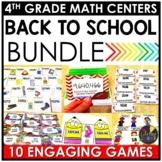 August Fourth Grade Math Centers BUNDLE