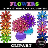 Rainbow Flowers Clipart - Black & White, Color, Glitter!
