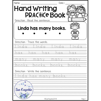 August Hand Writing Practice Book