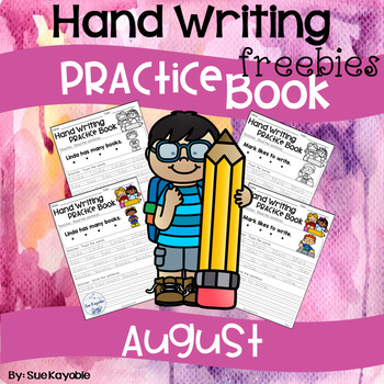 August Hand Writing Practice Book Freebies