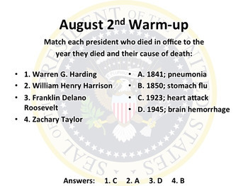This Day in History Warm-ups for August