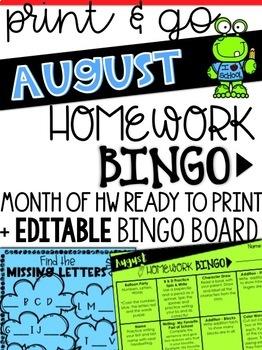 August Homework Bingo & EDITABLE Bingo Board