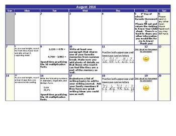 August Homework Calendar