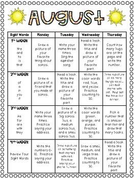 August Homework Calendar: A Month of Homework for Kindergarteners