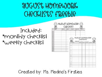 August Homework Checklist Freebie