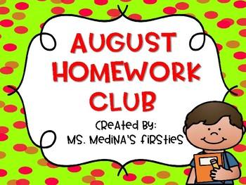 August Homework Club- Editable
