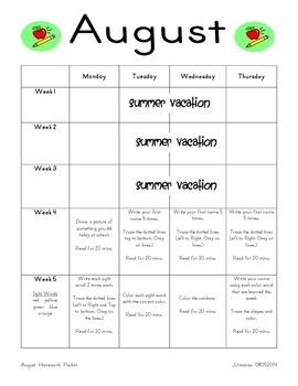 August Homework Packet for Kindergarten/First Grade