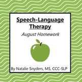 August Homework Packet for Speech-Language Therapy