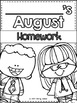 August Homework Sample for Kindergarten