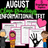August Informational Text and Close Reading - Comprehension and More!