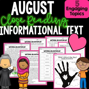 August Informational Text and Close Reading - Comprehensio