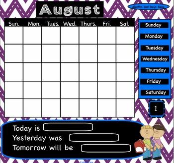 August Interactive SmartBoard Calendar
