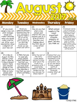 August Intermediate Daily Journal Prompts