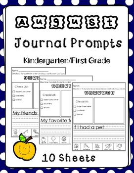 August Journal Prompts.Back to School. Kindergarten or Fir