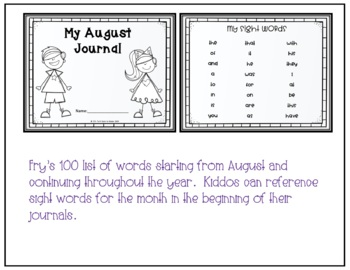 August Journal Prompts for Beginning Writer