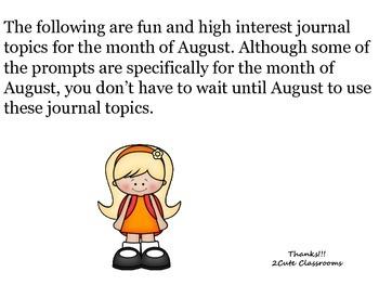August Journal Writing Topics-No Prep