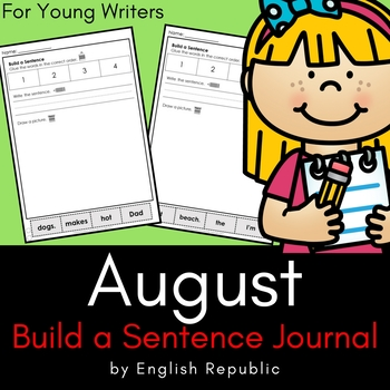 August Journal and Sketchbook for Beginner Writers - No Prep!