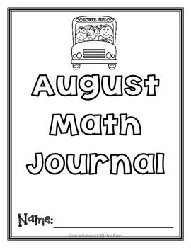 August Kinder Math Journal