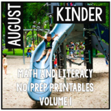 August Kindergarten Math and Literacy Packet NO PREP Common Core Aligned