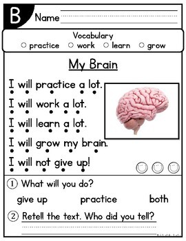 August Kindergarten Guided Reading Passages and Questions Levels A-E