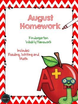August Kindergarten Homework
