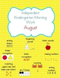 August Kindergarten Morning Work, Daily Math and Literacy