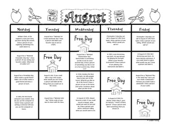August Kindergarten Writing Prompts and Journal Pages (Common Core Aligned)