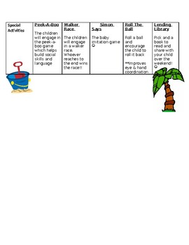 August Lesson Plan for infants and toddlers