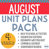 August Lessons and Activities - 20 Days - Perfect for back to school!