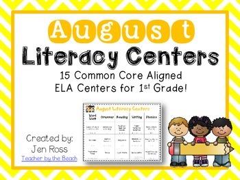 August Literacy Centers Menu {CCS Aligned} Grade 1