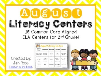 August Literacy Centers Menu {CCS Aligned} Grade 2
