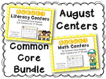 August Literacy & Math Centers Menu BUNDLE {CCS Aligned} Grade 1