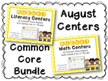August Literacy & Math Centers Menu BUNDLE {CCS Aligned} Grade 2