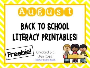 August Literacy Printables {Freebie!}