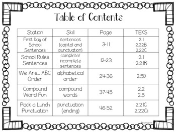 August Literacy Stations